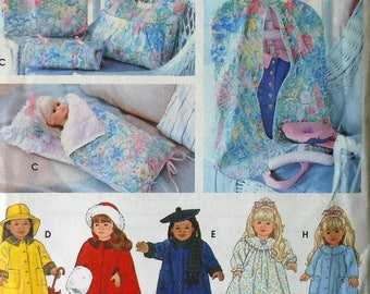 "18"" Doll Sleeping Bag and Garment Bag Sewing Pattern UNCUT Simplicity 8962 nightgown robe"