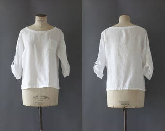 White linen blouse | 1990's by cubevintage | medium