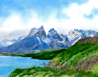 Chile landscape watercolor painting South America, Torres del Paine, glaciers, lake, mountains 10.5 x 15.5 inches