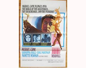 vintage original 1968 film poster DEADFALL Michael Caine Giovanna Ralli