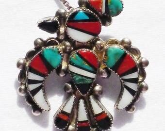 Zuni Sterling Silver Peyote Bird Multi-Stone Inlay Pendant / Pin Necklace