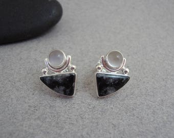 White Moonstone and Fossil Stone Earrings in Sterling Silver, Black and White Post Earrings