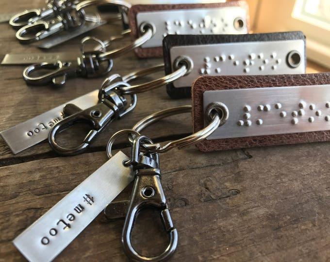 Me Too #metoo  Braille keychain Leather keyfob Me too Movement