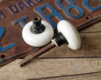Antique White Porcelain Door Knob Set - Vintage White Knob Door Handles