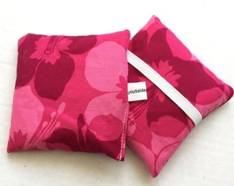 Hand Warmer Rice Bag - Fushia Pink Hawaiian Floral - Lavender Scented