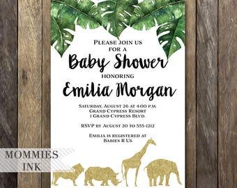 Gold Safari Baby Shower Invitation, Baby Shower Invitation, Palm Leaf Baby Shower, Safari Invite, Jungle Invite, Safari Party, Giraffe, Lion