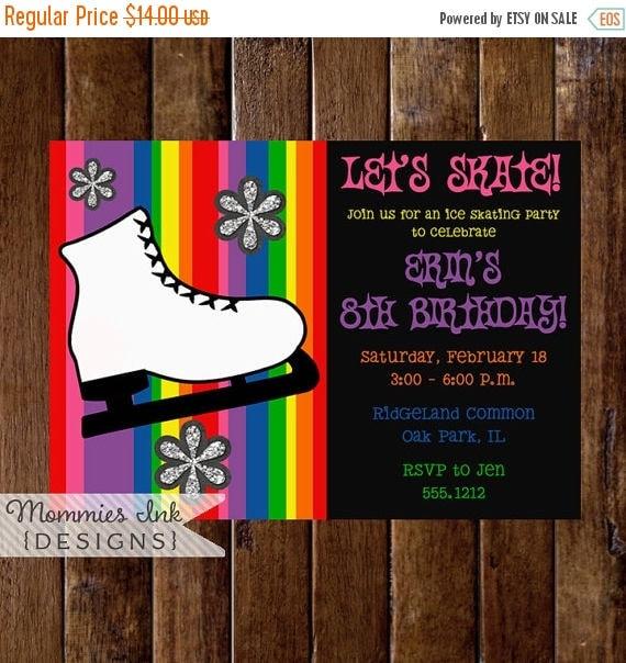 10% OFF Memorial Day Sale Ice Skate Invitation, Ice Skating Invitation, Ice Skating Birthday Invitation, Ice Skating Party Invitation, Rainb