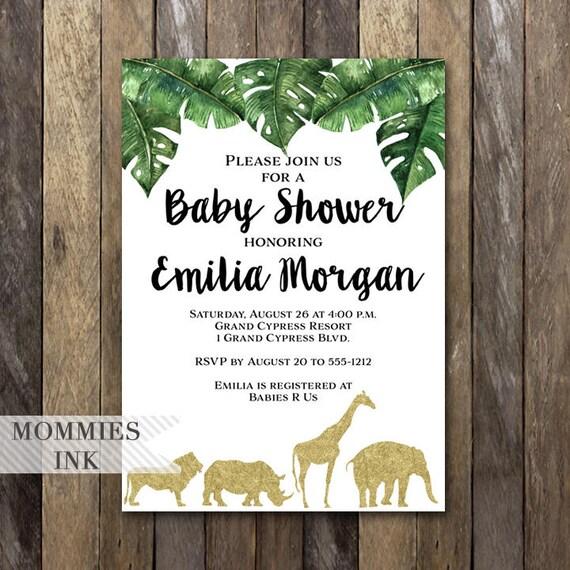 Gold safari baby shower invitation baby shower invitation palm il570xn filmwisefo