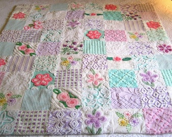 "Heirloom Quality Custom Order - ""Springtime"" Vintage Chenille Quilt / Throw - handmade vintage chenille large throw."