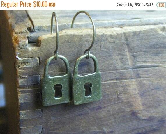 CLANDESTINE. Miniature brass escutcheon keyhole rustic earrings.