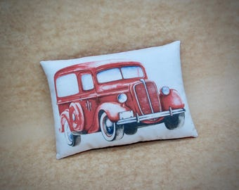 Vintage Red vehicle pillow | Christmas decor | Vintage red car | Antique Car decor | Gift for him | Stocking stuffer | Christmas decoration
