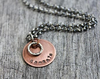Namaste Mixed Metal Chain Necklace, Copper Sterling Silver Necklace
