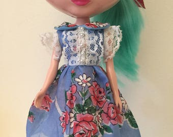 Blue and Pink Floral Vintage Hankie Dress For Blythe with Lace