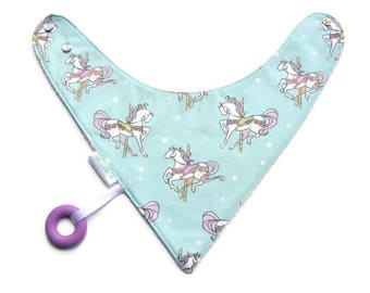 Baby Bandana Bib With Attached Food Safe Silicone Teether, Michael Miller Unicorns, Reversible  Minky Lined