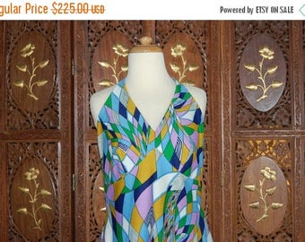 ON SALE Vintage 1970s Psychedelic Geometric Abstract Maxi Halter Dress Sz M