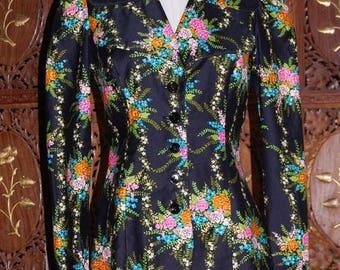 ON SALE Vintage 1970s 'Young Edwardian Arpeja Floral Jacket