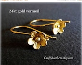 CIJ SALE Bali 24kt Gold Vermeil Large Flower Ear Wires, 25mm x 15mm, artisan-made supplies - SELECT a quantity