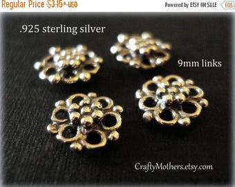 7% off SHOP SALE Bali Oxidized Sterling Silver Ornate Flower Links, 9mm, artisan-made supplies, bridal accessories