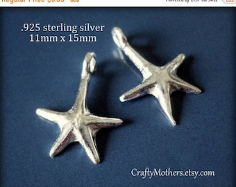 7% off SHOP SALE Bali Sterling Silver Starfish Charms, 15mm x 11mm, Artisan-made supplies, precious metals - Flat Rate Shipping Worldwide