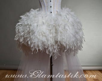 Custom Size White tulle Burlesque feather Corset Prom dress Small-XL