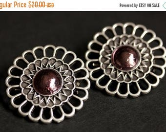 BACK to SCHOOL SALE Set of Two Aged Silver Shoulder Brooches. Norse Brooches in Mauve Glass. Apron Pins Viking Brooches Handmade Historical