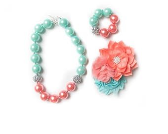 Mint necklace, Coral bubblegum necklace, little girl necklace chunky bead necklace, bubble gum necklace, toddler necklace baby girl necklace