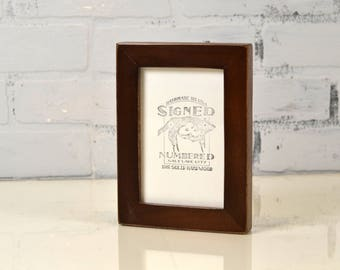 4x6 Picture Frame in 1x1 Flat Style with Vintage Dark Wood Tone Finish - IN STOCK - Same Day Shipping - 4 x 6 Photo Frame Brown
