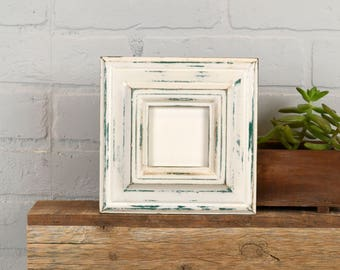 3x3 Picture Frame in Mulder Style with Super Vintage Peacock under White Finish - IN STOCK - Same Day Shipping - 3 x 3 Square Photo Frame