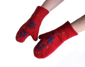 Oven Mitts. Handfelted Mitts.