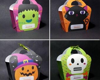 Kawaii Cute Halloween Giftbag Spooky Pumpkin, Skull, Monster, Black Cat Treat Basket EDITABLE Printable PDF offer