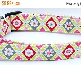 ON SALE Floral Harlequin Diamond White Flowers with Green Pink Red and Grey Spring Dog Collar