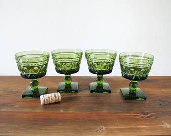 Set of 4 Indiana Glass Colony Park Lane Olive Green Wine Goblets Wine Glasses