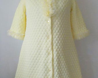 Vintage Bathrobe Yellow Quilted Robe • Vintage Evelyn Pearson Jr. Robe • 1970s Lacey Quilted Nylon Robe