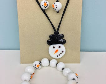 Snowman Glass Bead Jewelry Set