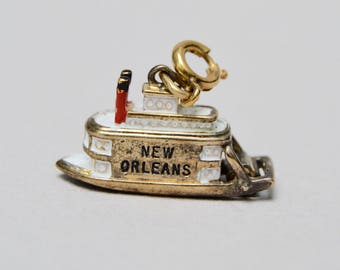 Vintage Sterling Silver New Orleans Paddlewheel Boat with Enamel Travel Charm Pendant