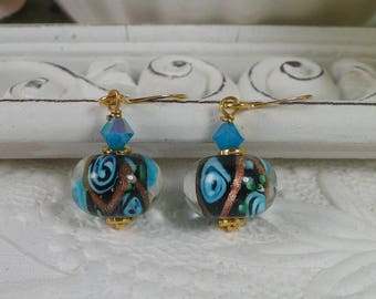 Lamp Work Earrings Blue and Black Gifts for Her