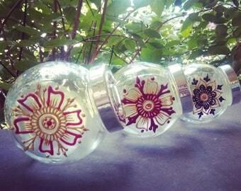 Screw-Top Mini Jars w/ Hand-Painted Henna Designs
