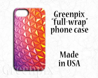 Disney iPhone case, Disney iPhone 6 6S 7, iPhone 6 Plus, iPhone 6S Plus, iPhone 7 Plus, EPCOT Spaceship Earth, orange, purple, Disneyworld