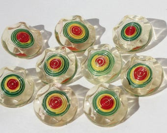 9 Vintage Mid Century Modern Carved Painted Lucite Plastic Acrylic Buttons