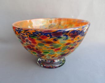 Hand Blown Art Glass  Candy, Fruit,Nut Bowl, Orange Multicolored.