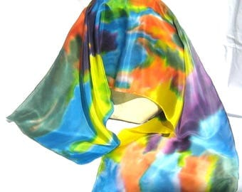 """Silk Scarf,Crayon Colors,Hand Designed, 15x60 inches """"Color Outside The Lines"""""""