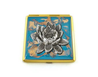 Lotus Flower Compact Mirror Inlaid in Hand Painted Enamel Turquoise Quartz with Color and Personalized Option