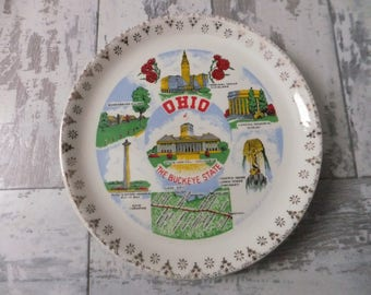 Vintage Ohio Souvenir State Plate Small Gold Filigree Border Decorative Collector Travel Vacation Retro Wall Decor 7.25""