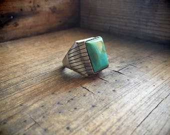 Vintage Native American ring Size 11 Men's turquoise jewelry Navajo Juan Chief Yellowhorse