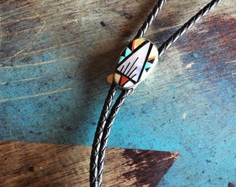 Vintage Zuni Bolo Tie Mosaic Inlay Turquoise Mother of Pearl Black Onyx, Native American Bola