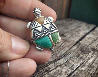 Turtle Fetish Pendant Necklace, Tortoise Pendant, Turtle Totem Native American Indian Jewelry