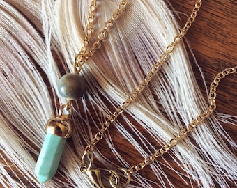 Turquoise Howlite Stone Point Pendant Necklace