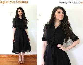 ON SALE 1970s does 1950s Dress / Vintage Sheer Black Full Skirt Shirtwaist Dress