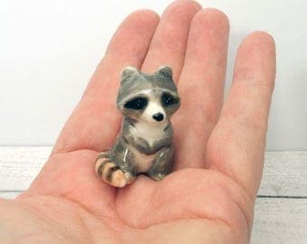 Miniature ceramic Raccoon figurine suit terrarium hand crafted  Anita Reay miniature racoon. ooak