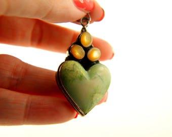 Marble Heart Pendant and Earrings - Sterling Silver - Sundance - Vintage